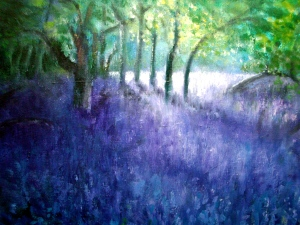 Bluebell Wood.  Oil on canvas.  Detail