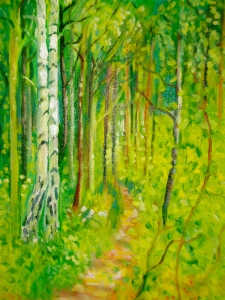 A Walk in the Woods Oil on canvas.