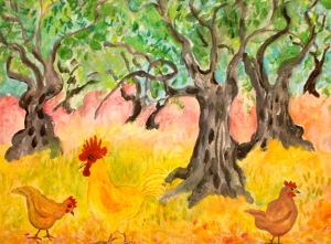 Chickens in the Olive Grove Acrylic on canvas board