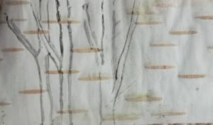 Birch trees on birch bark. Birch stick and watercolour.