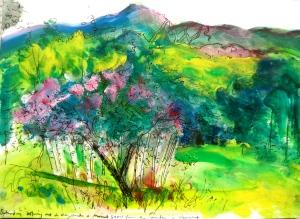 Pen and watercolour, The Garden, Vermont